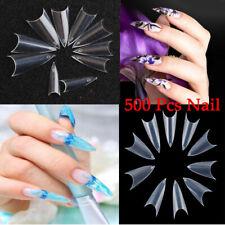 500Pcs Acrylic French Clear Natural DIY Nail Tips UV Gel False Point Stiletto