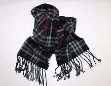Unbranded Designer Black Check Wool Fringe Scarf NEW