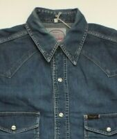 "WRANGLER DENIM SHIRT MEN'S REGULAR FIT SNAPS 44"" MID BLUE LSHT608"