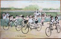 Multiple Baby 1908 Postcard: Babies on Tandem Bicycles, Race - French Fantasy