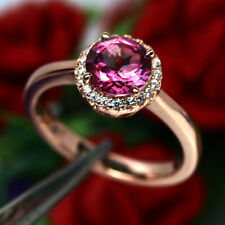 NATURAL AZOTIC PINK MYSTIC TOPAZ & WHITE CZ RING 925 SILVER STERLING SZ6.75
