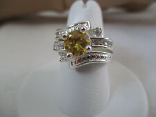 AVON Stunning CZ Cocktail Ring Silvertone Yellow CZ Center Rhinestones Size 7