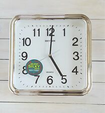 Silver Chrome Gold Silent Rhythm Square Wall Clock 3D Numerals ii
