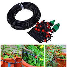 25m Hose DIY Micro Drip Irrigation System Auto Timer Plant Watering Garden Set ~