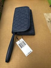 Vera Bradley Trimmed Wristlet  NWT Faux Leather Trim Moonlight navy
