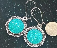 """FREE SHIP Turquoise Blue Round Faux Druzy Earrings 2"""" Sparkly Drusy"""