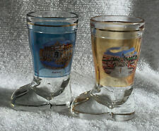 2 Roma Glass Boot Shot Glasses Trevi Fountain & St. Peter's Basilica