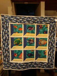Feathered Stars Quilted Wall Hanging Decorative Traditional Pieced Wall Art Blue Modern Art Quilt Colonial Quilt Art Handmade Art Quilt