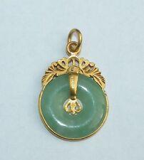 999 Pure  24k Yellow Gold  Jade Charm Pendant  lot2013