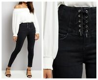 ex New Look Black High Waist Lace Up Corset Skinny Jeans