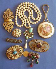 ANTIQUE VINTAGE COSTUME JEWELRY LOT DE BIJOUX ACCESSOIRES ANCIENS ET FANTAISIE