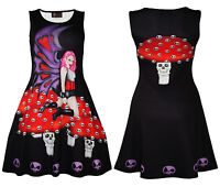 Women's Unique Gothic Dark Fairy Skulls Halloween Sleeveless Skater Dress Goth