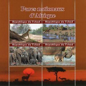 Chad Wild Animals Stamps 2020 MNH National Parks Africa Zebras Elephants 4v M/S