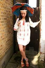 NWT H&M CREAM ORANGE EMBROIDERED TUNIC DRESS HIPPIE BOHO GYPSY CITY DIARIES 6 2