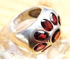 Extrem Massiv Silberring 57 Handarbeit Granat Breit Rot Ring Silber Schlicht