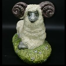 50s Spaghetti Studio Pottery Signed Figure Big Ram Sheep Ornament Curling Horns