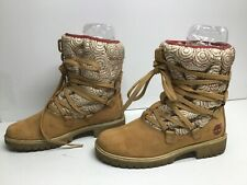VTG WOMENS TIMBERLAND WINTER SUEDE LIGHT BROWN BOOTS SIZE 7 M