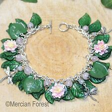 Lily Pond Bracelet - Handmade Clay, Water Lilies, Dragonfly, Pagan Jewellery