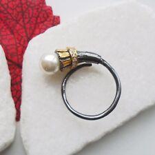 Perle weiß gold schwarz rhodiniert offen Design Ø 17,75 mm 925 Sterling Silber