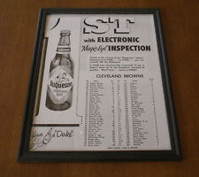 1956 DUKE BEER & BROWNS ROSTER FRAMED B&W AD PRINT