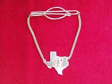 Sterling Silver Tie Clasp w/ Image of State of Texas, Horseshoe & Red Gem Stone