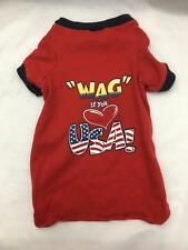 Red Shirt for Small Dog Wag If You Love Usa! 100 % Cotton