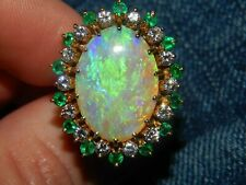 14K Yellow Gold Over Large 5.50CT Fire Opal Diamond & Emerald Statement Ring