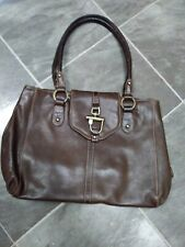 I Santi Brown Leather Tote Shoulder Bag Purse Made In Italy
