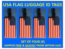 FOUR [4] USA FLAG AMERICAN FLAG LUGGAGE ID BAG TAG with BUS. CARD INSERT & STRAP