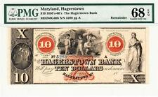 1850's- 1860'S $10 Maryland, Hagerstown Bank-PMG 68EPQ SUPERB GEM UNCIRCULATED!
