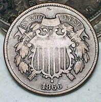 1866 Two Cent Piece 2C High Grade Details Civil War Era US Copper Coin CC6084