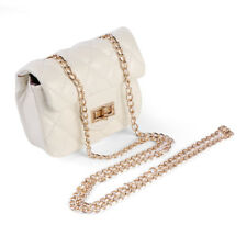 Ivory Quilted Mini Cross body Bag Purse Shoulder Handbag With Gold Chain Strap