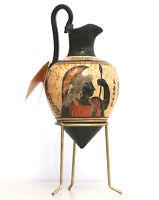 Greek Ancient Ceramic RHYTON Vase Pottery Painting Goddess Athena Handmade