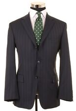 Hugo Boss Navy Blue Multi Stripe Super 130s Italian Wool Suit Jacket Pants 40 S