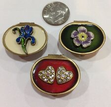 VINTAGE GLASS WORKS STUDIO BRASS ENAMEL SMALL TRINKET BOXES 3pcs