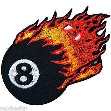 Ball Burn Flaming Pool Snooker Billiard 8 Eight Biker Tattoo Iron on Patch #0783