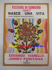 JIMMY FONTANA EDOARDO VIANELLO Nasce 1968 RARO SPARTITO SINGOLO RCAcd lp dvd mc