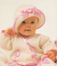 Sweet Baby Ribboned Cross-Over Top & Hat 0-18 Months Knitting Pattern 3 ply