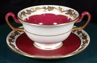 Wedgwood Whitehall Powder Ruby Soup Coupes & Saucers - W3994 - 1st Quality