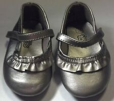 Baby Girl's Size 2W Infant Toddler Silver Ruffled Teeny Toes Dress Flats Shoes