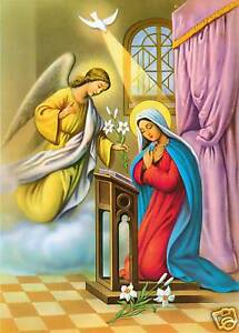 "Catholic Print Picture The ANNUNCIATION Mary Gabriel 7 1/2 x 10"" ready to frame"
