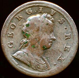 1722 HALFPENNY George I Upside down A for V Fine Rare Peck 802