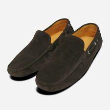 Dark Brown Suede Italian Driving Shoe Moccasins