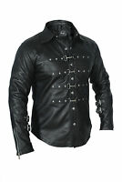 REAL LEATHER Mens Black PUNK / ROCK / GOTH Shirt BLUF Most Sizes