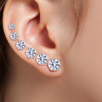 6Pairs Women Stainless Steel Ear Stud Earrings Cubic Zircon Round Surgical 3-8mm