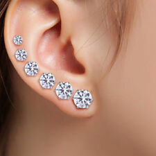 6 Pairs Surgical Stainless Steel Stud Earrings Rhinestone Round Women Gift 3-8mm