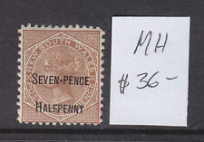New listing Nsw Seven Pence Halfpenny On 6d Brown Mh