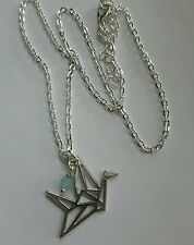 origami crane pendant necklace chain silver plated bird charm