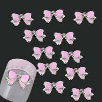 10x 3D Pink Alloy Rhinestones Bow Tie Nail Art Glitters Slices DIY Decorations