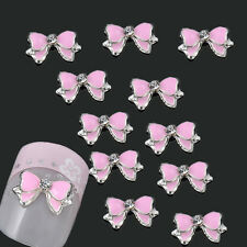 DIY 10PCS 3D Alloy Jewelry Pink Rhinestone Bow Tie Nail Art Stud Decorations